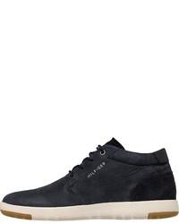 dunkelblaue Leder niedrige Sneakers von Tommy Hilfiger