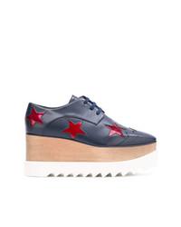 dunkelblaue Leder Oxford Schuhe von Stella McCartney