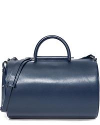 dunkelblaue Leder Reisetasche von Building Block