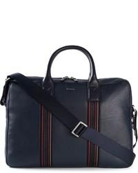 dunkelblaue Leder Reisetasche von Paul Smith