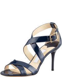 dunkelblaue Leder Sandaletten