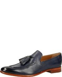 dunkelblaue Leder Slipper mit Quasten von Melvin&Hamilton