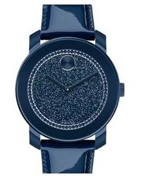dunkelblaue Leder Uhr
