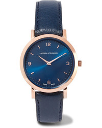 dunkelblaue Leder Uhr von Larsson & Jennings