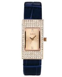 dunkelblaue Leder Uhr von Oasis