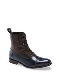 dunkelblaue Lederformelle stiefel
