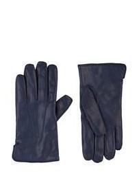dunkelblaue Lederhandschuhe