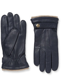 dunkelblaue Lederhandschuhe von Dents