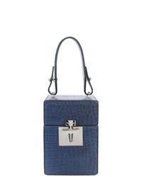 dunkelblaue Lederhandtasche von Oscar de la Renta