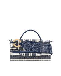 dunkelblaue Lederhandtasche von Zanellato