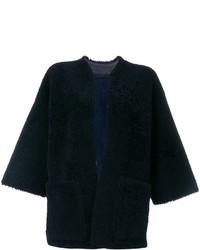 dunkelblaue Lederlammfelljacke von Maison Margiela
