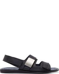 dunkelblaue Ledersandalen von Calvin Klein Collection