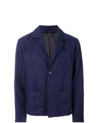 dunkelblaue Leinen Shirtjacke