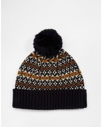 dunkelblaue Mütze mit Fair Isle-Muster