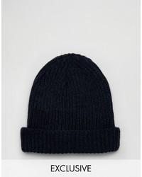 dunkelblaue Mütze von Reclaimed Vintage