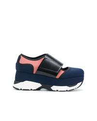 dunkelblaue niedrige Sneakers von Marni