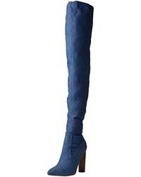 dunkelblaue Overknee Stiefel von Boohoo