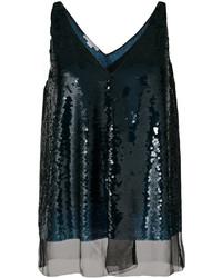 dunkelblaue Pailletten Bluse von Stella McCartney