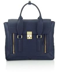 dunkelblaue Satchel-Tasche aus Leder