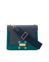 dunkelblaue Satchel-Tasche aus Leder von Anya Hindmarch