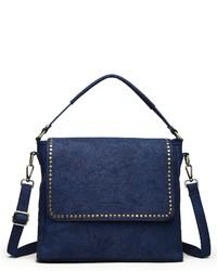 dunkelblaue Satchel-Tasche aus Leder von COLLEZIONE ALESSANDRO
