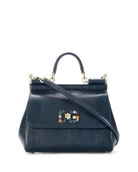 dunkelblaue Satchel-Tasche aus Leder von Dolce & Gabbana