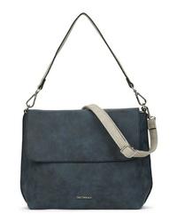 dunkelblaue Satchel-Tasche aus Leder von EMILY & NOAH