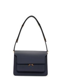 dunkelblaue Satchel-Tasche aus Leder von Marni