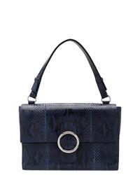 dunkelblaue Satchel-Tasche aus Leder von Orciani