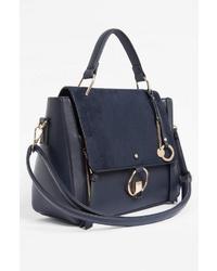 dunkelblaue Satchel-Tasche aus Leder von ORSAY