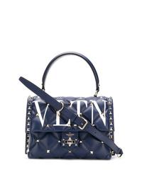 dunkelblaue Satchel-Tasche aus Leder von Valentino