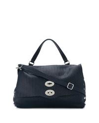 dunkelblaue Satchel-Tasche aus Leder von Zanellato
