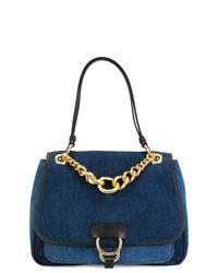 dunkelblaue Satchel-Tasche aus Segeltuch von Miu Miu