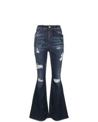 dunkelblaue Schlagjeans mit Destroyed-Effekten von Dolce & Gabbana
