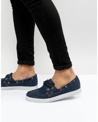 dunkelblaue Segeltuch Bootsschuhe von Armani Jeans