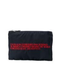dunkelblaue Segeltuch Clutch Handtasche von Calvin Klein 205W39nyc