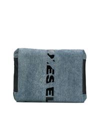 dunkelblaue Segeltuch Clutch Handtasche von Diesel