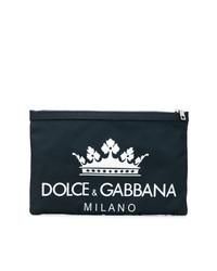 dunkelblaue Segeltuch Clutch Handtasche von Dolce & Gabbana