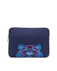dunkelblaue Segeltuch Clutch Handtasche von Kenzo