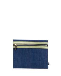 dunkelblaue Segeltuch Clutch Handtasche von Lardini