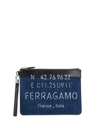 dunkelblaue Segeltuch Clutch Handtasche von Salvatore Ferragamo