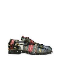 dunkelblaue Segeltuch Derby Schuhe