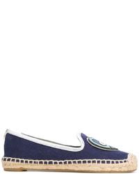 dunkelblaue Segeltuch Espadrilles von Tory Burch