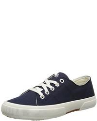 dunkelblaue Segeltuch niedrige Sneakers