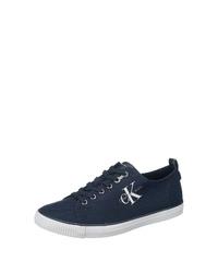 dunkelblaue Segeltuch niedrige Sneakers von Calvin Klein