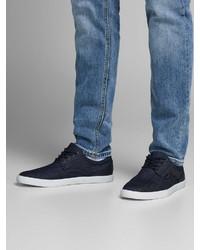 dunkelblaue Segeltuch niedrige Sneakers von Jack & Jones