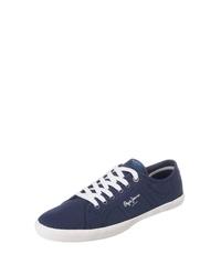 dunkelblaue Segeltuch niedrige Sneakers von Pepe Jeans
