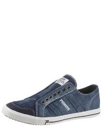 dunkelblaue Segeltuch niedrige Sneakers von Pioneer Authentic Jeans