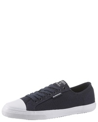 dunkelblaue Segeltuch niedrige Sneakers von Superdry