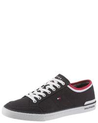 dunkelblaue Segeltuch niedrige Sneakers von Tommy Hilfiger